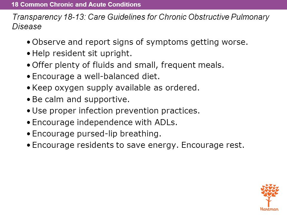 Transparency 18-13: Care Guidelines for Chronic Obstructive Pulmonary Disease
