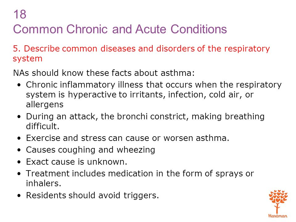 5. Describe common diseases and disorders of the respiratory system