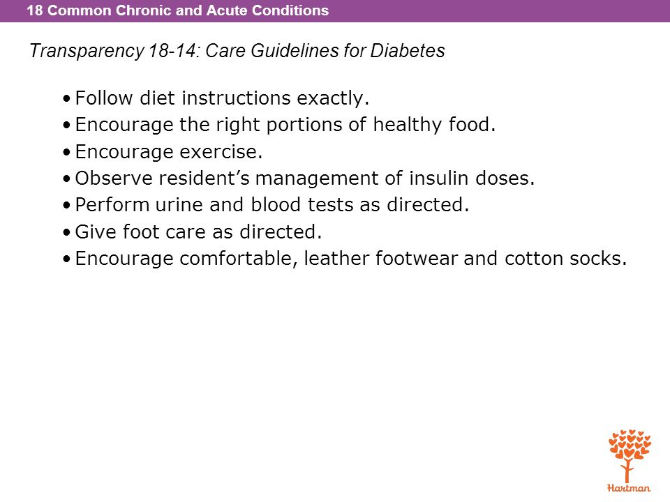 Transparency 18-14: Care Guidelines for Diabetes