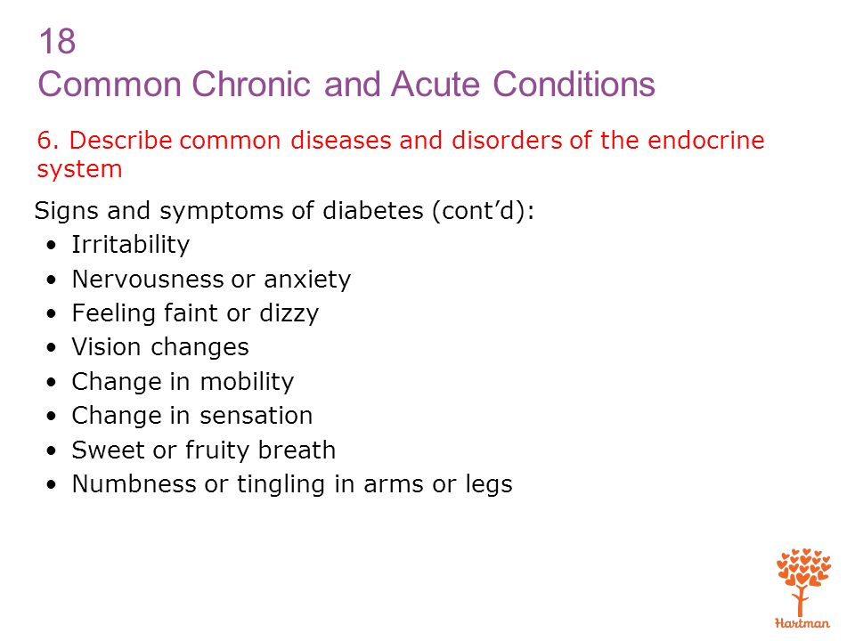 6. Describe common diseases and disorders of the endocrine system