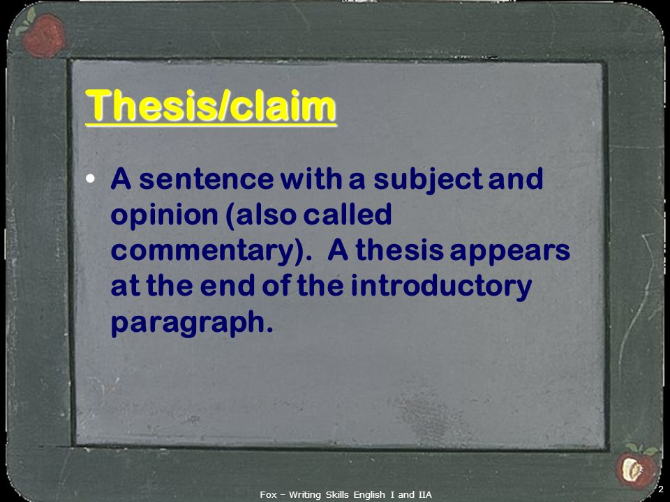 english commentary thesis Ap® english language and composition scoring commentary for the synthesis essay essays will be neither penalized.