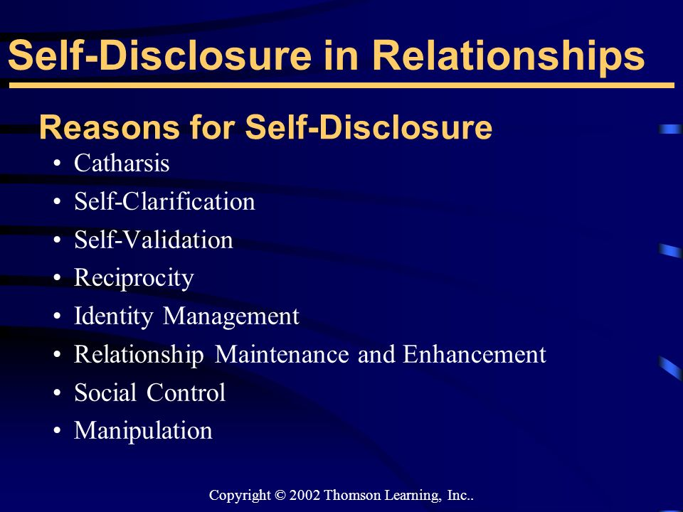 relationships and self disclosure essay Can we talk michelle calhoun com 200 interpersonal communication  instructor: lindsay hallead april 13, 2013 can we talk self disclosure in a  relationship.