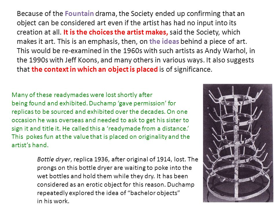 marcel duchamp readymades essay In 1904 marcel duchamp started to analyze on the julian academy in paris duchamp's manner of art you know every creative person has his ain manner of art but sometimes the manner of art can do a alteration or alterations throughout the plants of an creative person duchamp frequently changed his manner.