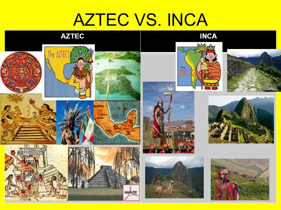 inca vs aztec 2014-1-6 the aztec empire, centred at the capital of tenochtitlan, dominated most of mesoamerica in the 15th and 16th centuries ce with military conquest and.