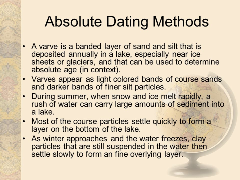 absolute age dating methods Relative and absolute age  a method of determining the absolute age of an object by comparing the relative percentages of a radioactive  young rock dating.
