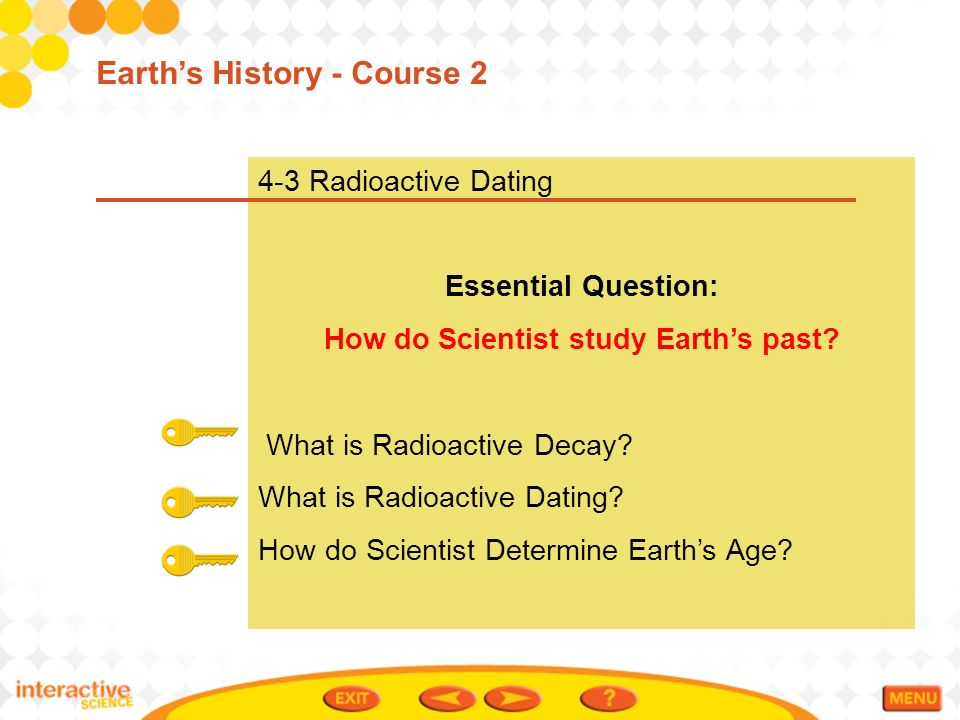 what does radioactive dating allow scientists determine This age has been determined with the radioactive dating technique dating meteorites thus allows us to give a lower age to the solar system (4,56 billion.