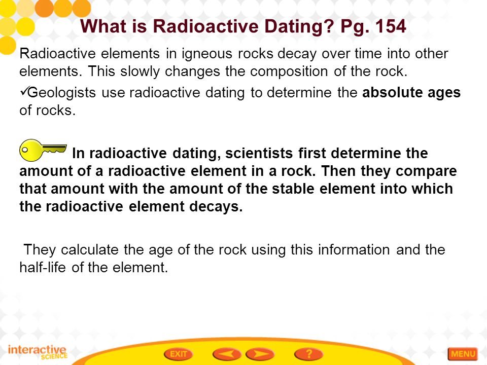 radioactive dating examples in present day