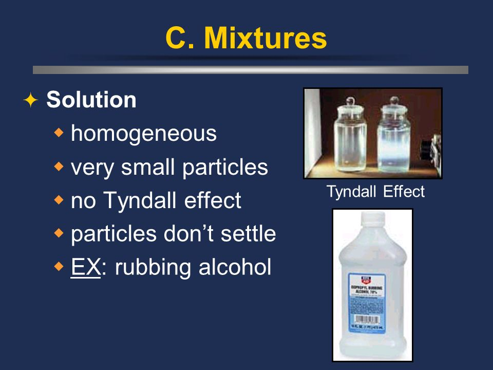 C. Mixtures Solution homogeneous very small particles