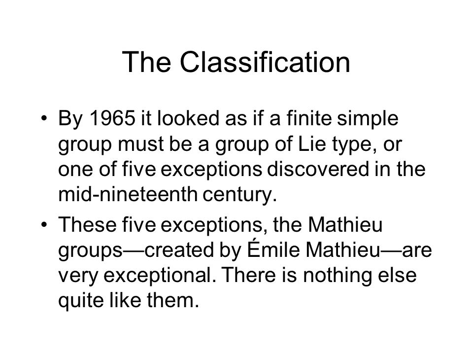The Classification