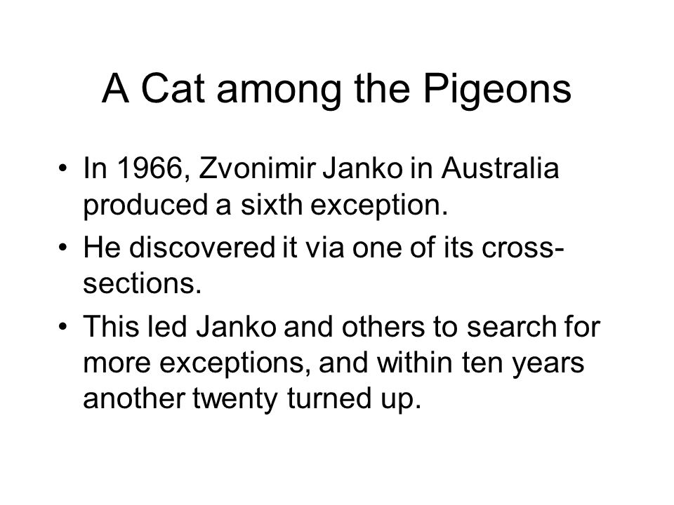 A Cat among the Pigeons In 1966, Zvonimir Janko in Australia produced a sixth exception. He discovered it via one of its cross-sections.