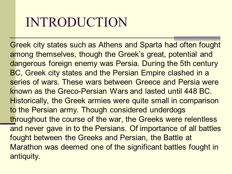 "a history of the battle between the persian empire and the greeks ""the persians "" takes place in one of the capitals of the persian empire at that and giving his rendition of the blood-curdling battle cry of the greeks."