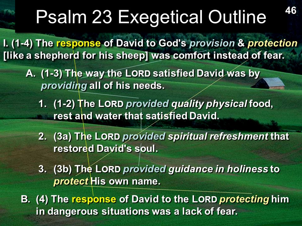 exegesis psalm 23 Brief summary of the poem psalm 23 (the lord is my shepherd.