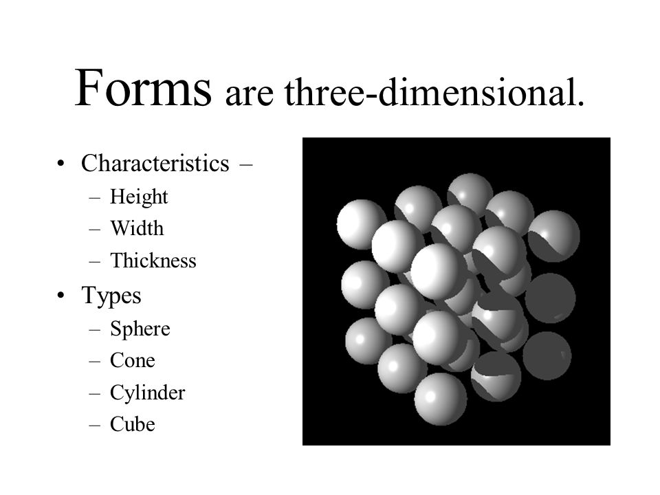 Forms are three-dimensional.