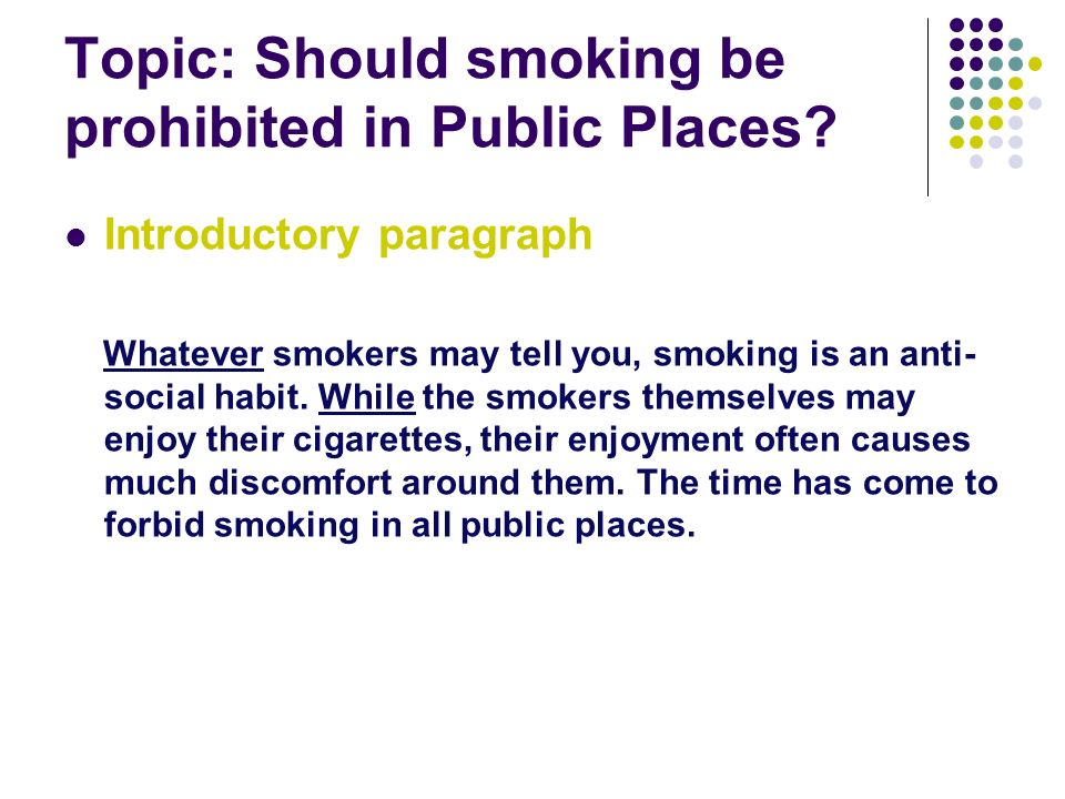 essay on smoking in public places Free essay: the hospitality industry has long argued that smoking bans cause great financial difficulty for bars and restaurants because of the link between.
