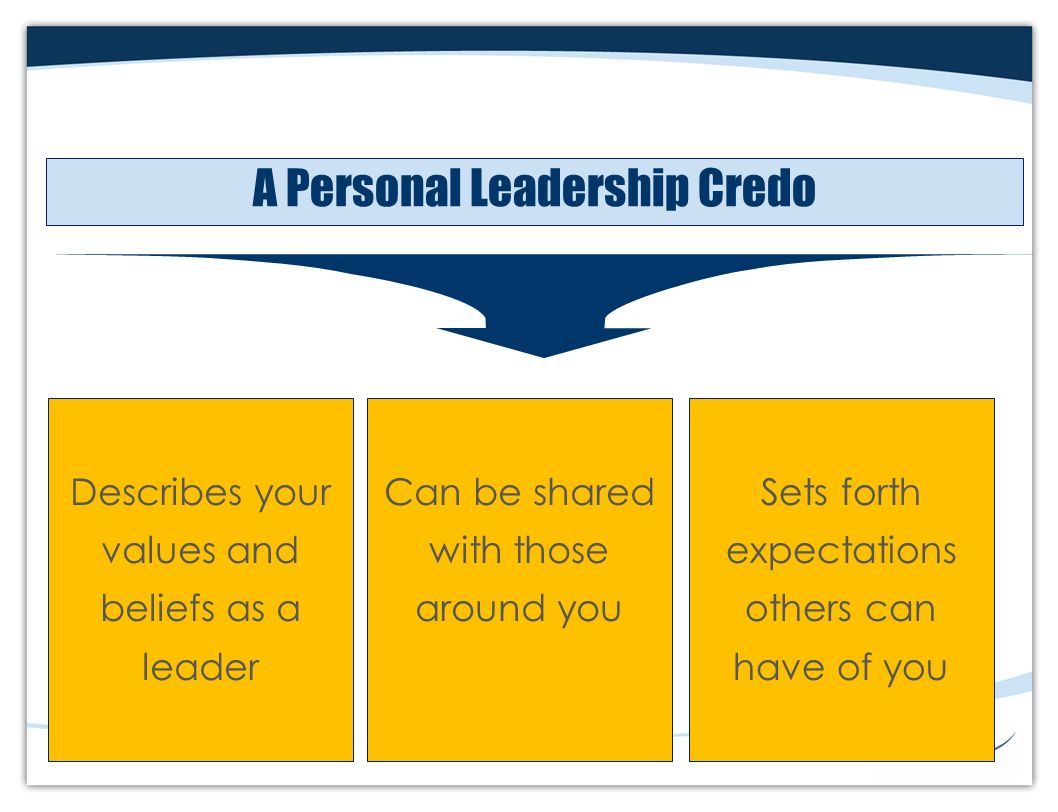 leadership credo 14082018 video created by university of illinois at urbana-champaign for the course foundations of professional identity find out how the course will run and how.