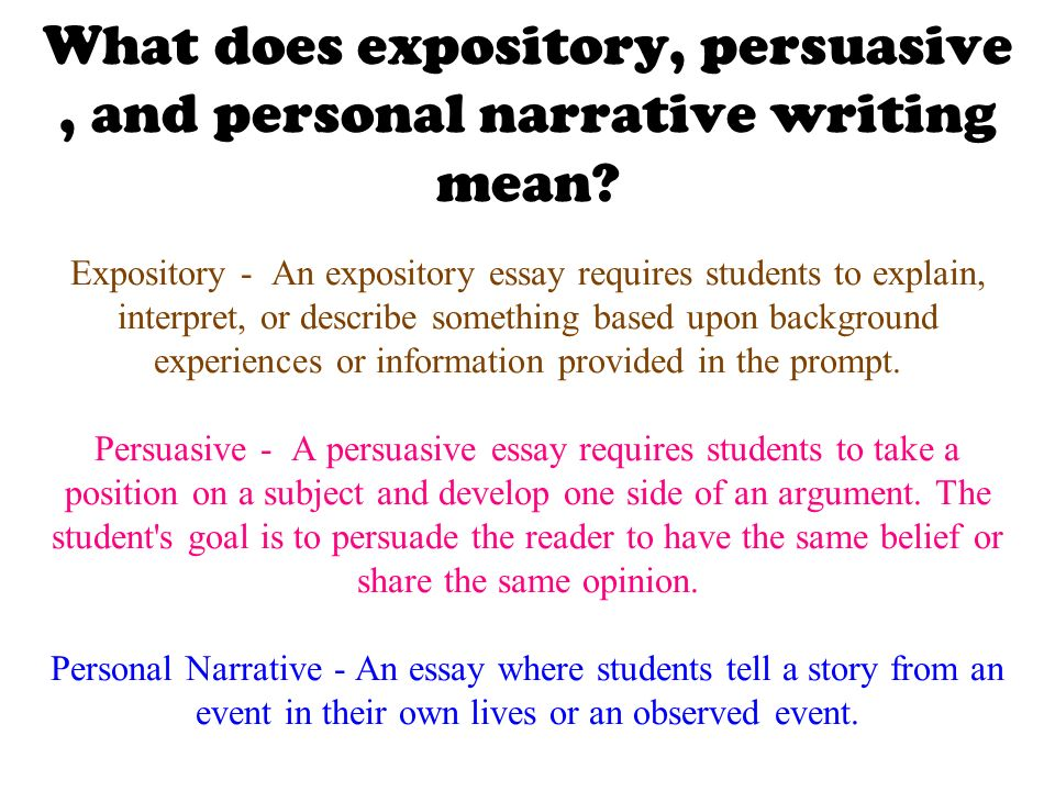 Expository And Narrative Essay Four Different Types Of Writing Styles Expository Descriptive  Persuasive And Narrative