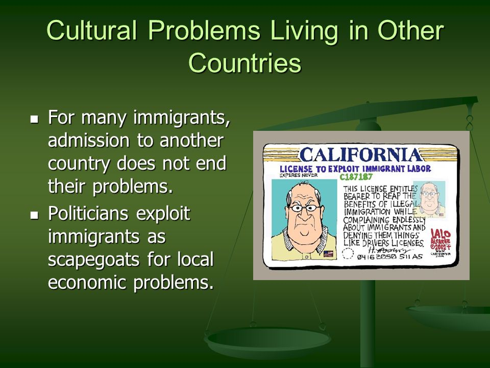 an introduction to the issue of economic and political conditions of immigrants Different dimensions and provide theoretical scope conditions for when  ideological and economic factors should matter  section i: introduction   immigration has become a significant political issue in most developed countries  in the united.