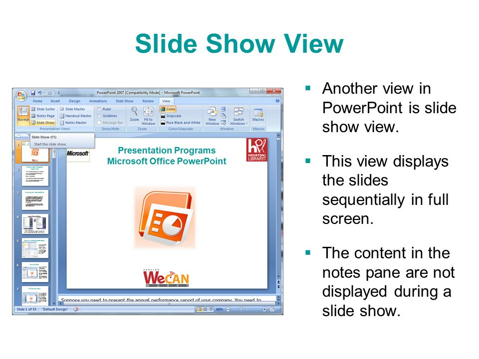 how to show text in power point after click