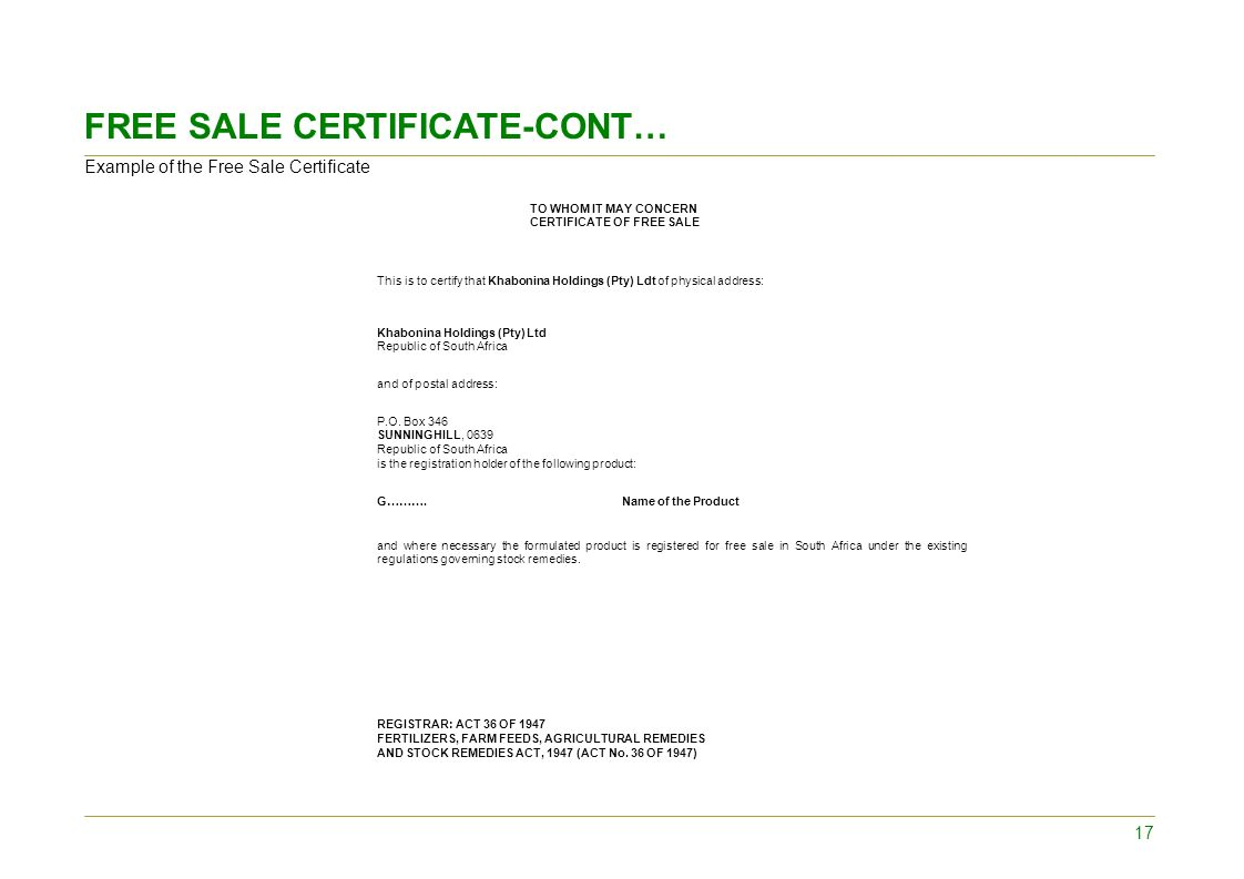 Administractive requirements for registration of stock remedy free sale certificate cont yadclub Image collections