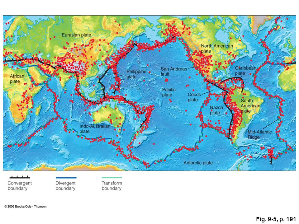 Mechanical waves that travel through the earth ppt video online figure 95 the relationship between earthquake epicenters and plate boundaries approximately 80 of gumiabroncs Images