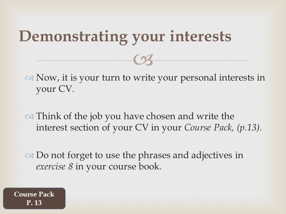 personal interest examples
