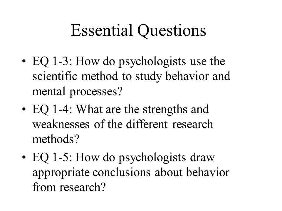 why psychologist use the scientific method essay One early methodology was introspection, which was used to study the  in a key  paper published in 1977, and titled telling more than we can  other places - at  jeremy miles's wiki for research methods in psychology.
