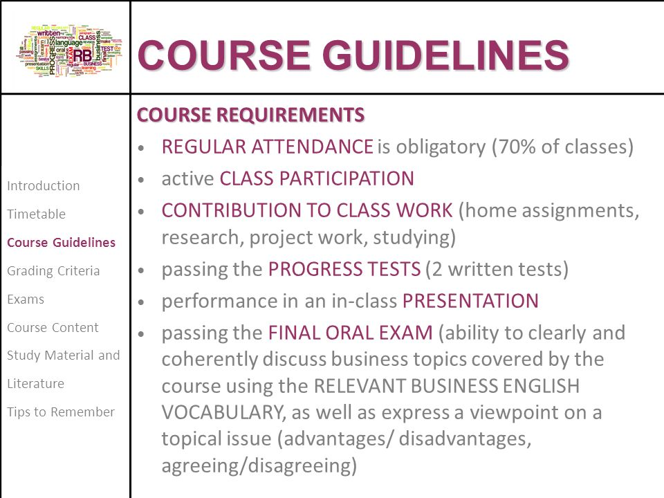 6 COURSE GUIDELINES REQUIREMENTS