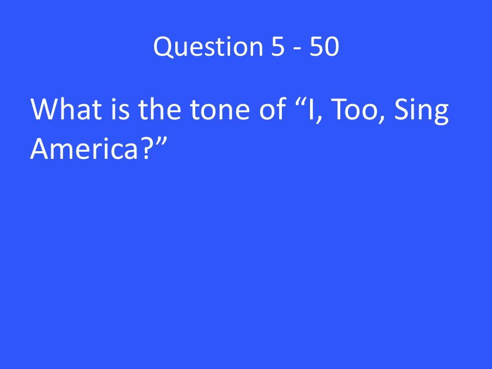 analysis of i too sing america Title: microsoft word - hughes_sing-americadoc author: aturner created date: 8/1/2008 3:04:42 pm.