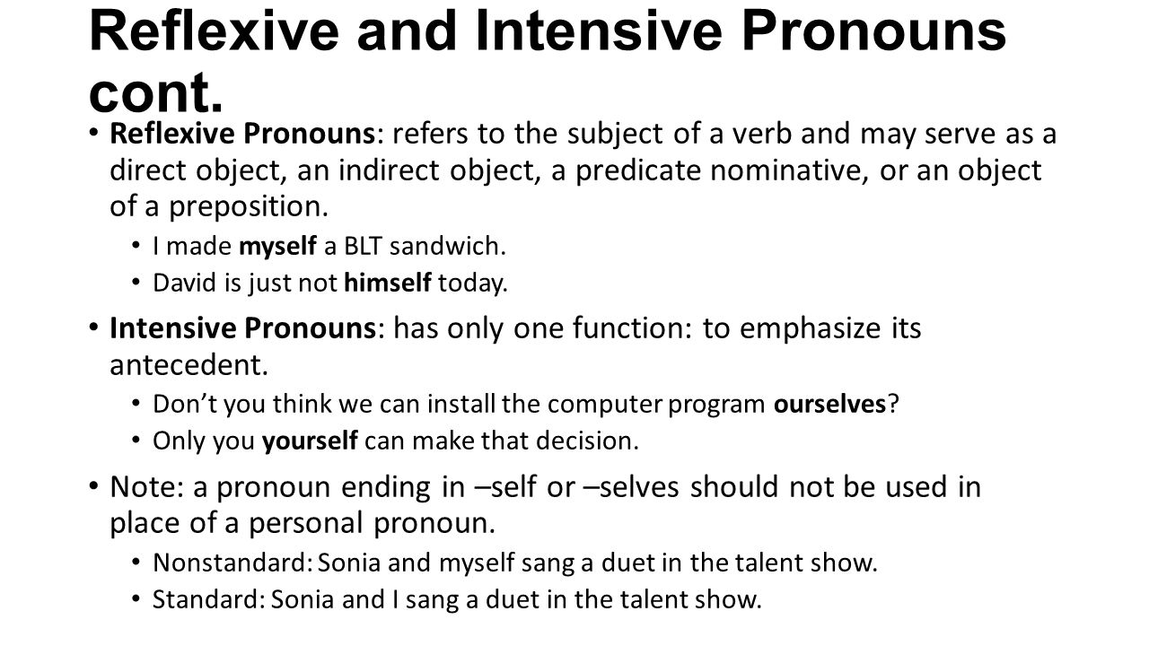 worksheet Reflexive And Intensive Pronouns Worksheet using pronouns correctly ppt video online download reflexive and intensive cont
