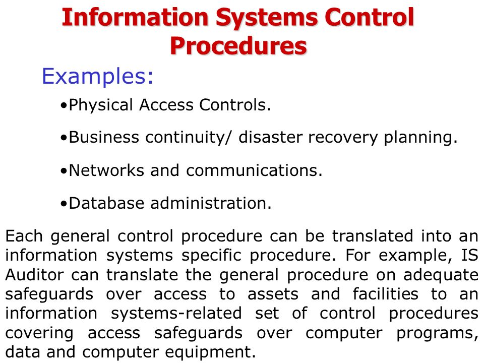 Module 7 Information Systems Auditing, Security and Control ...