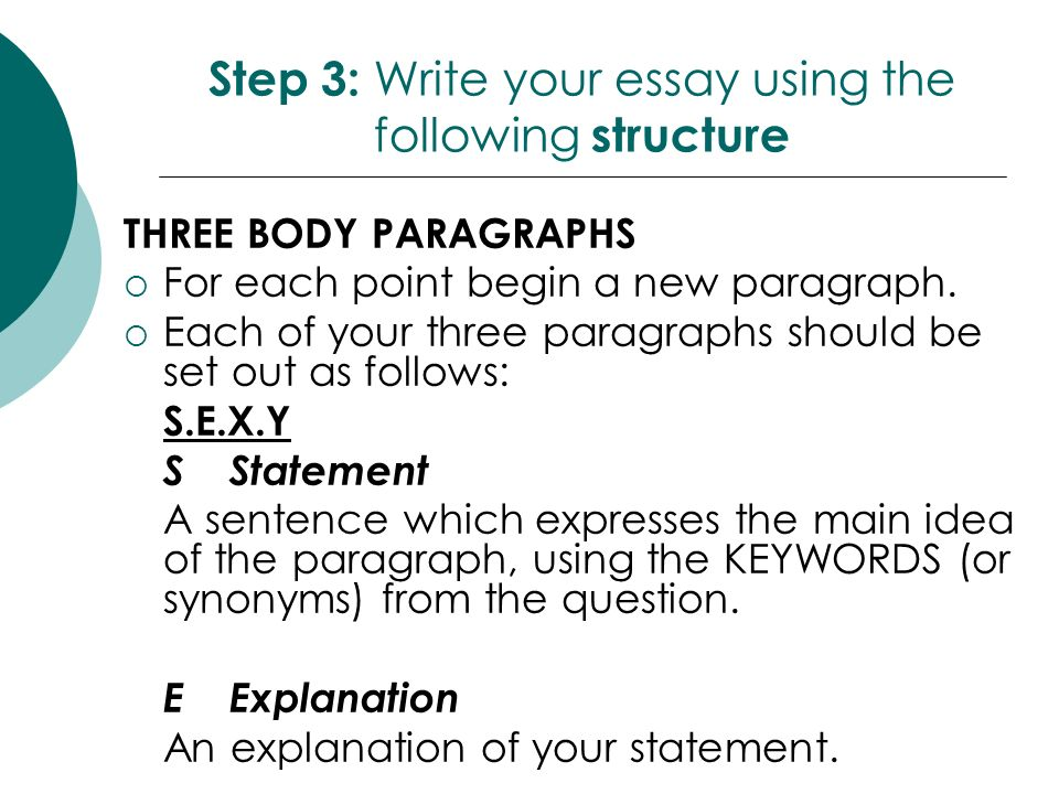 After your introduction each paragraph of your essay should