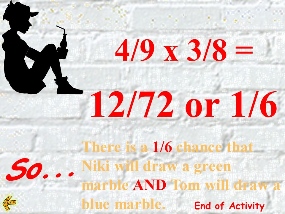 4/9 x 3/8 = 12/72 or 1/6. There is a 1/6 chance that Niki will draw a green marble AND Tom will draw a blue marble. End of Activity.