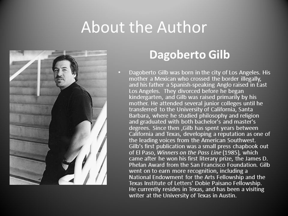 "a literary analysis of in love in la by dagoberto gilb Chapter two of this study shifts to a literary analysis of three short stories from robert paul moreira's 2013 selected short stories, dagoberto gilb's, ""uncle rock,"" wayne rapp's, ""chasing chato,"" and nelson denis's, ""juan bobo"" found chapter 2 the media's love of mexican pitching and its hate for mexican bodies."