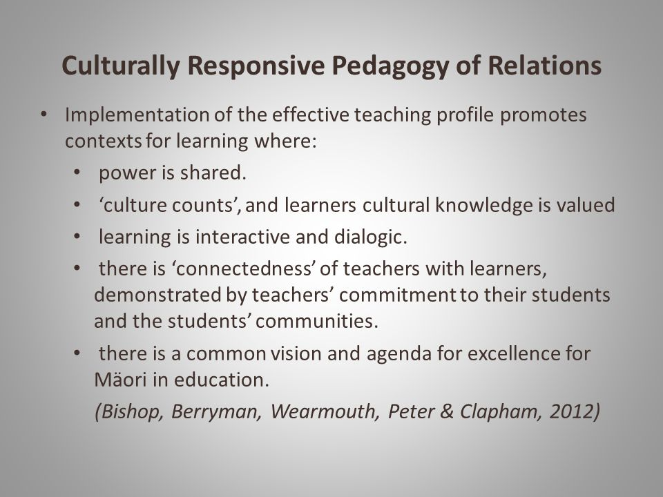 Culturally Responsive Pedagogy of Relations