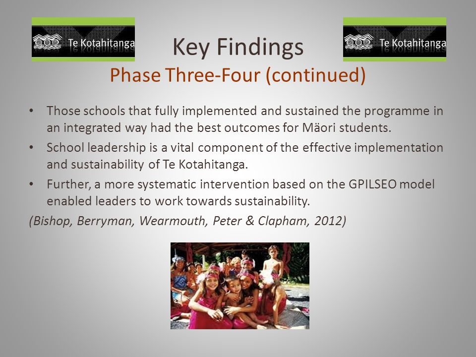 Key Findings Phase Three-Four (continued)
