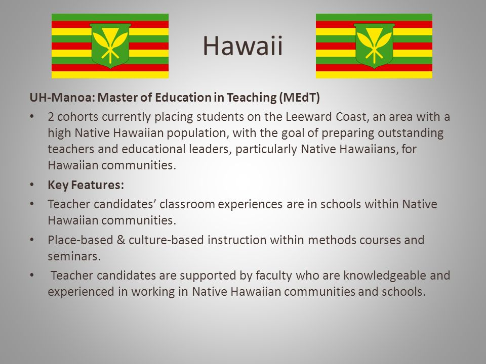 Hawaii UH-Manoa: Master of Education in Teaching (MEdT)