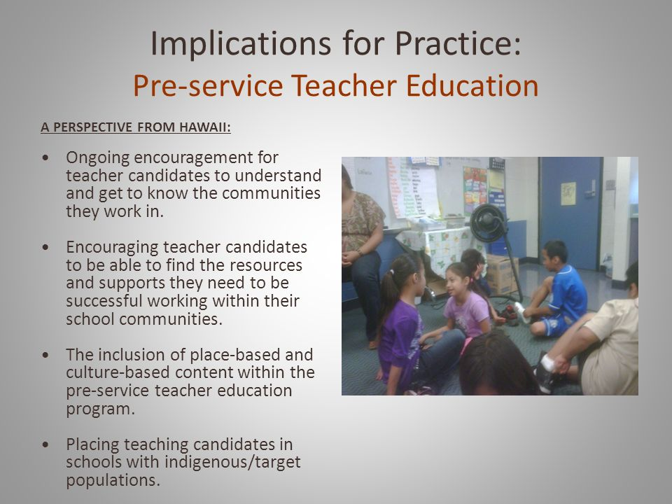 Implications for Practice: Pre-service Teacher Education
