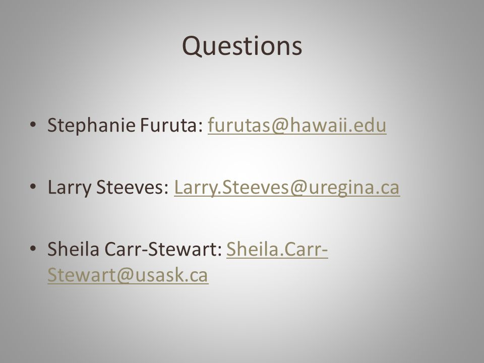 Questions Stephanie Furuta: furutas@hawaii.edu
