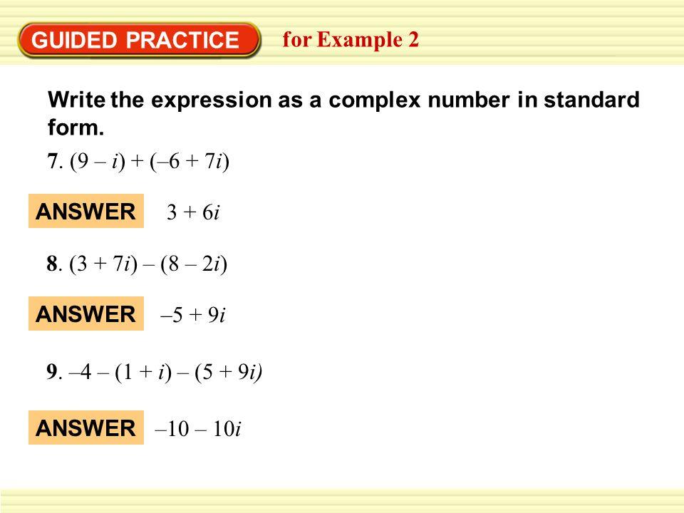Algebra Precalculus Writing Complex Numbers In Standard Form