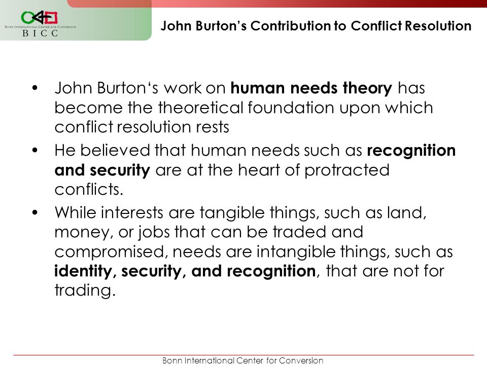 John Burton's Contribution to Conflict Resolution
