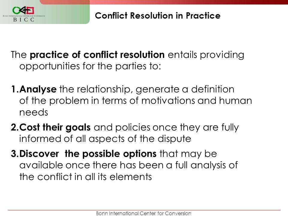 Conflict Resolution in Practice