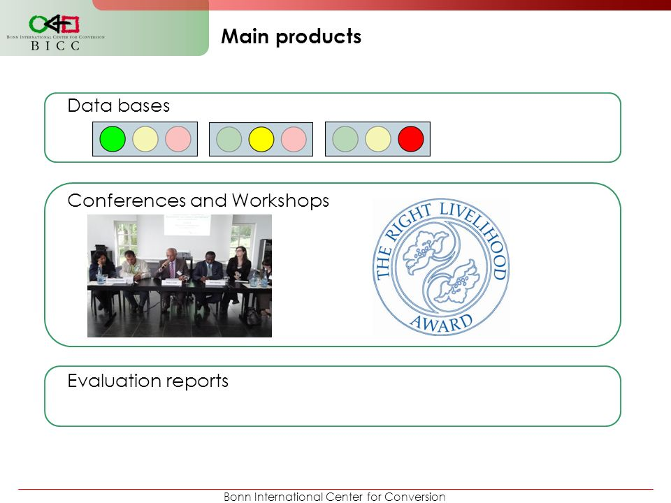 Main products Data bases Conferences and Workshops Evaluation reports