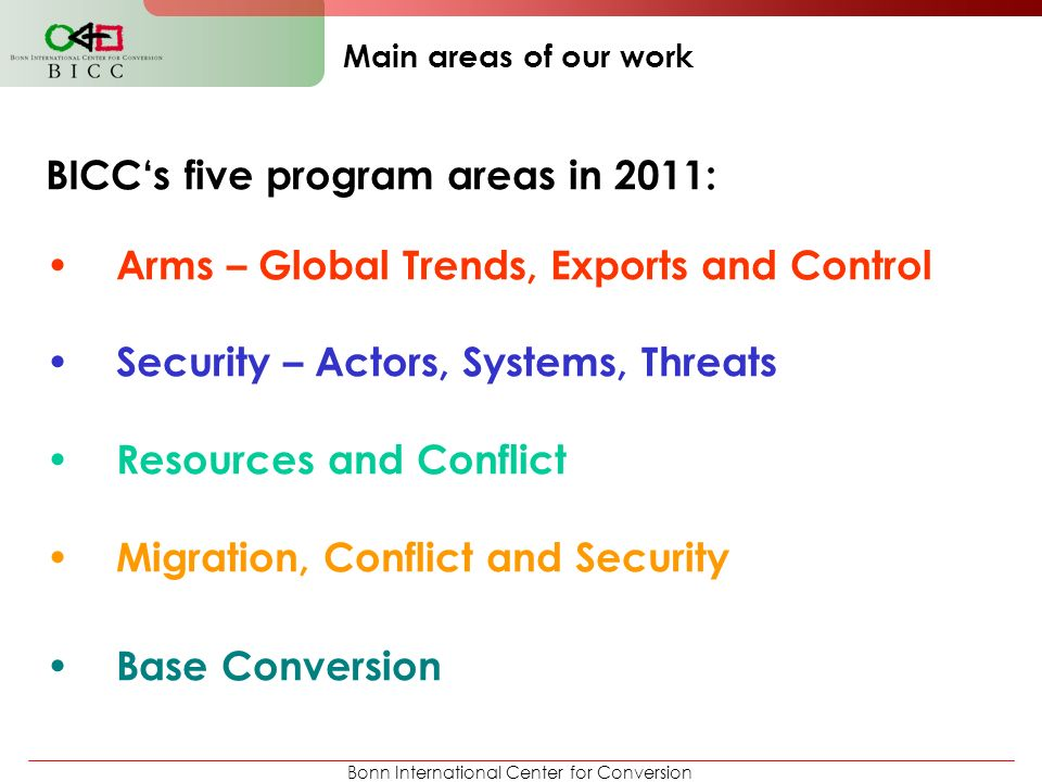 BICC's five program areas in 2011: