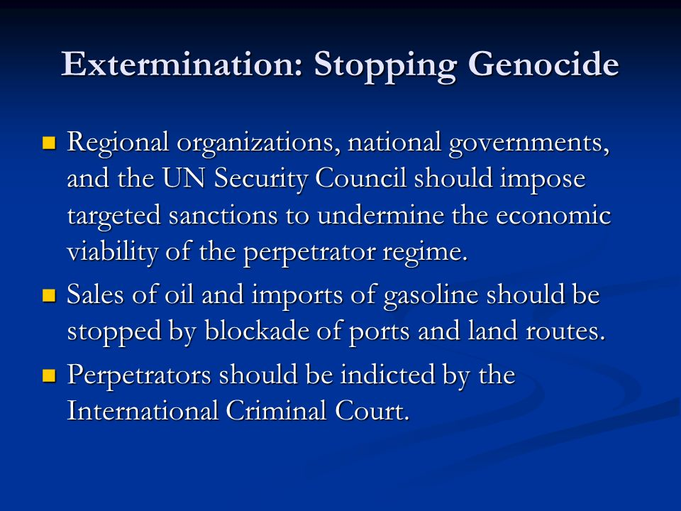 extermination in genocide However, while many point to february 2003 as the beginning of the conflict in darfur, the region had seen a fair share of violence before 2003.
