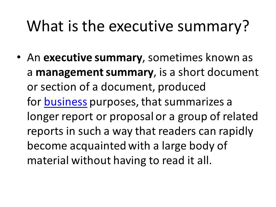 The Executive Summary. - Ppt Download