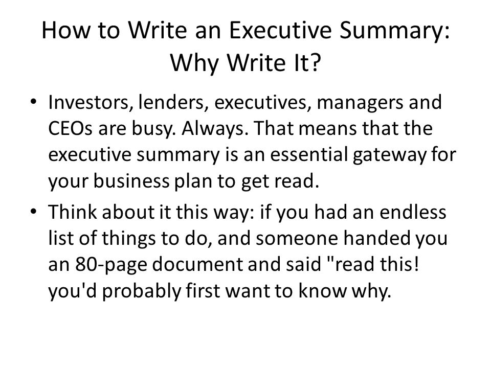 how to write an executive summary for a business plan