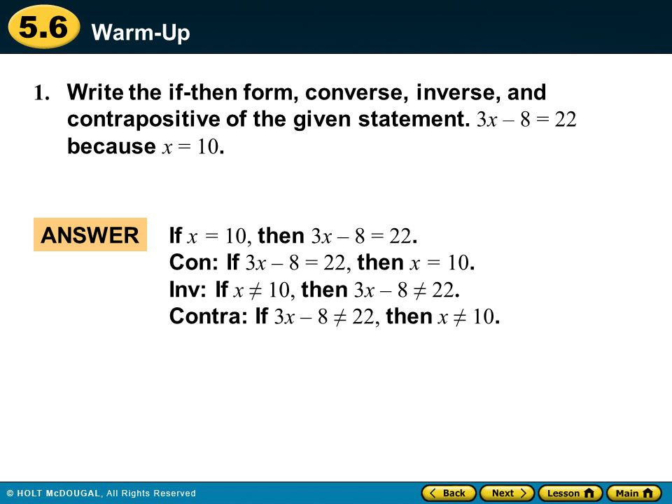 Warm Up Lesson Presentation Lesson Quiz ppt download – Converse Inverse Contrapositive Worksheet