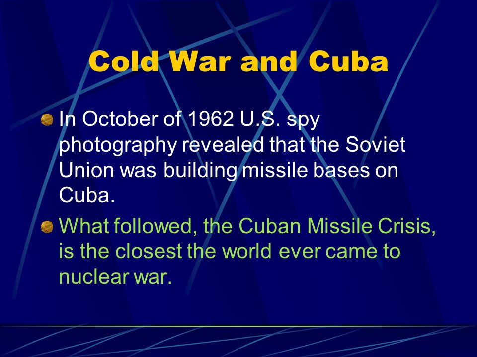 the secret plan of the soviet union to build missile bases in cuba The cuban missile crisis was a defining event of the cold war, and the study and   devised the plan that ended the superpower confrontation: he advised jfk to   a secret component of the settlement, resulted in khrushchev backing down   1962, that the cia had identified soviet missile bases in cuba, the president.