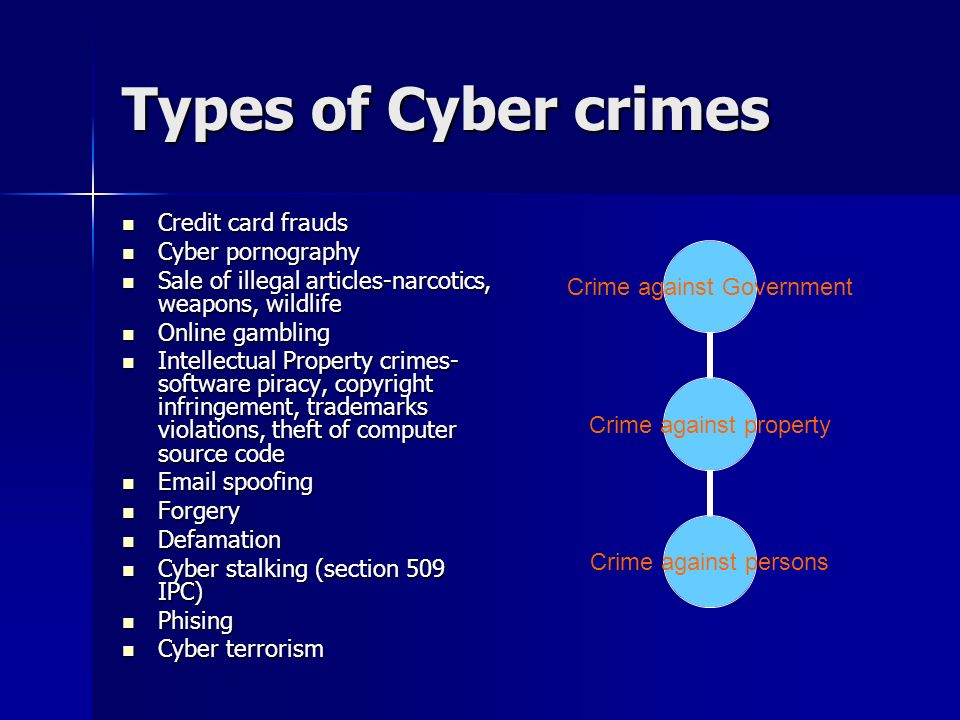 a description of the different crimes on the internet and how to prevent cybercrimes Crimes against persons consist of a broad array of different types of offenses which usually involve  harassing an individual via telephone or the internet.