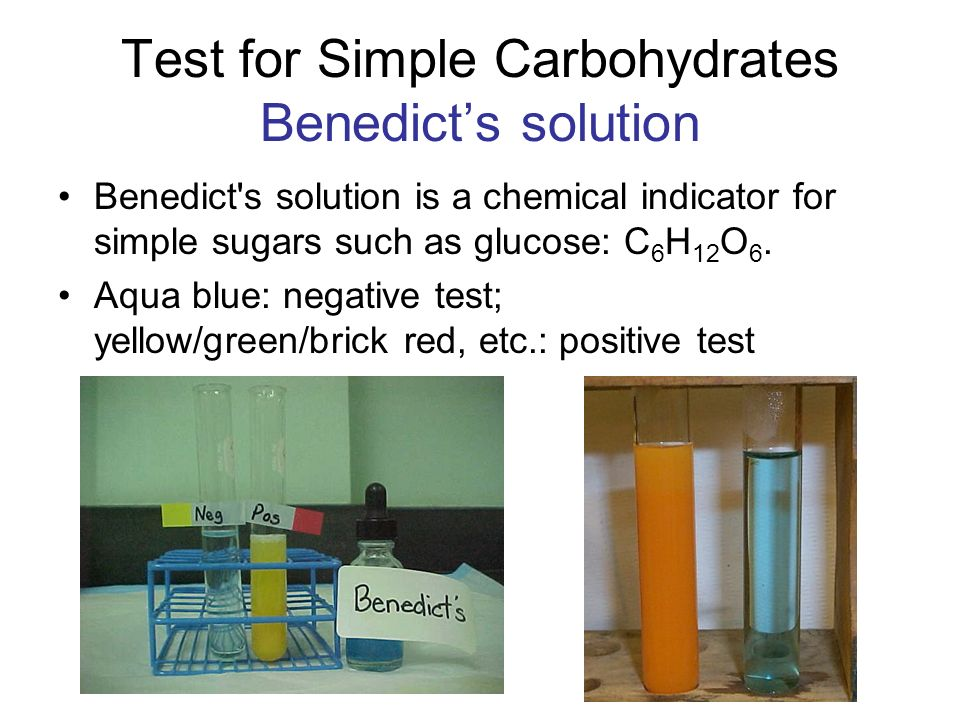 a simple test on carbohydrates Problem : are simple carbohydrates presenthypothesis : if the simple carbohydrates are mixed with benedict's qualitative solution and placed in a hot water bath, then it will changed to a.
